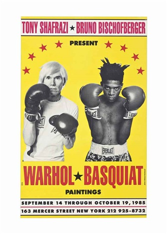 warhol and basquiat boxing in a photo on a yellow background