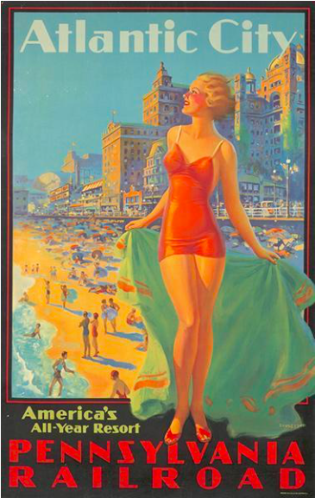 Edward Eggleston: Pennsylvania Railroad/Atlantic City (hacia 1935). Imagen: Poster House.