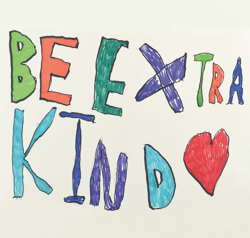Be Extra Kind hand -drawn poater featured in the 2017 Women's March