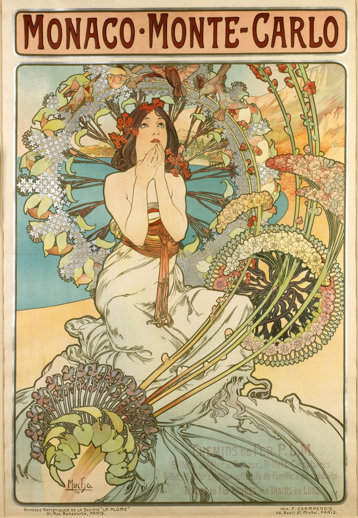 illustrational poster of a woman with many flowers surrounding her kneeling on a beach