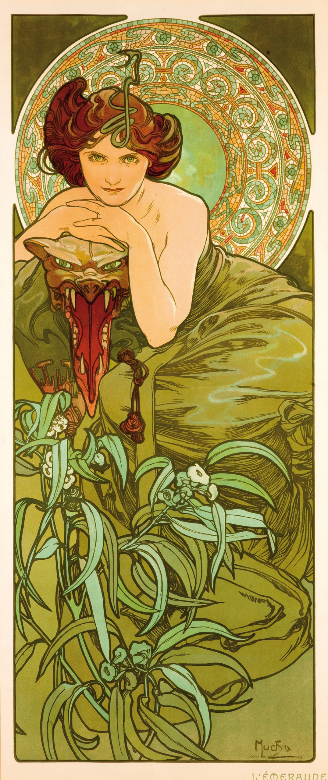 illustrational poster of a woman in a green dress resting her arms on a large snake head