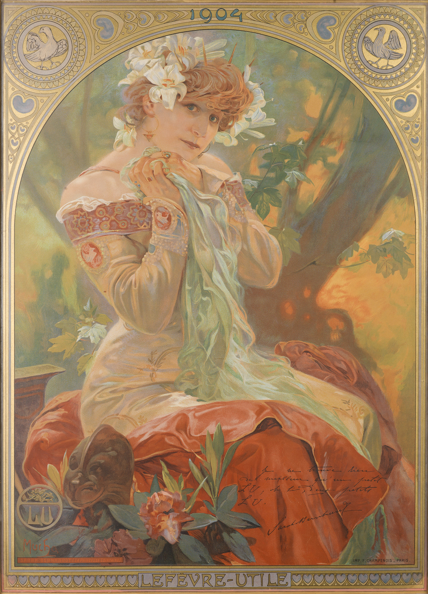 illustrational poster of a woman wearing a dress and flowers in her hair sitting in nature