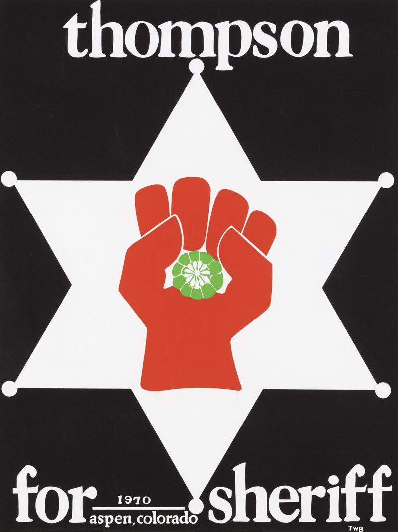 silkscreen poster of a red fist on a white sheriff's badge