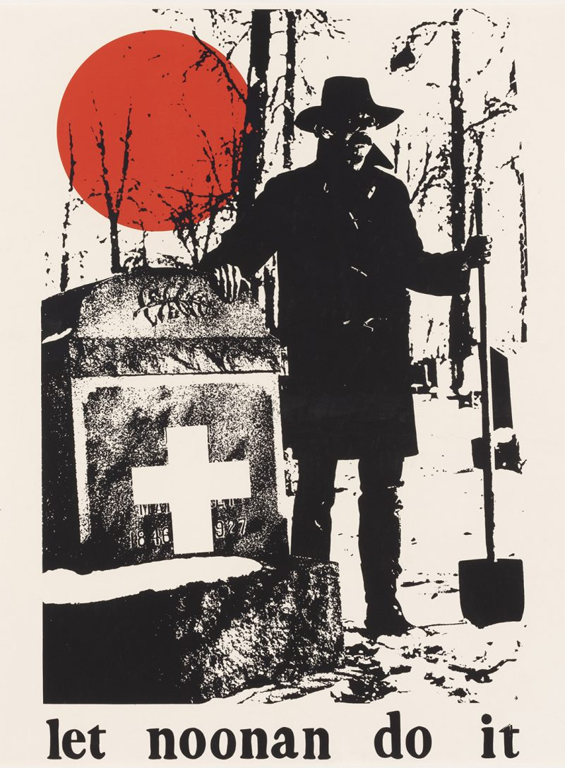silkscreen poster of a man with a shovel walking along a street. a red circle is in the upper left.