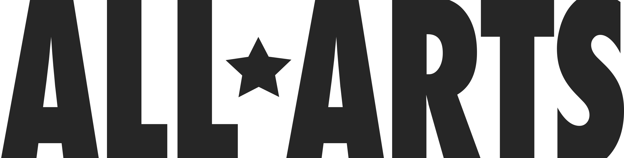 "A logo for ""All Arts"". A small star separate the two, upper-case words."