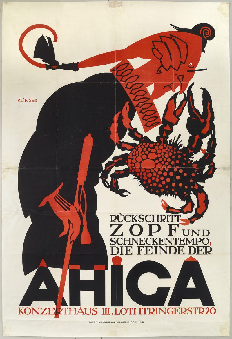 lithographic poster of a red faced judge in full regalia getting his nose pinched by a giant red crab
