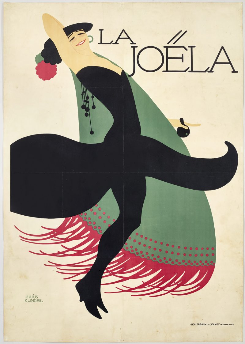 lithographic image of a woman dancing. She is wearing a black dress and a large spanish shawl