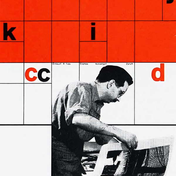 a man looking through posters with a grid and letters superimposed