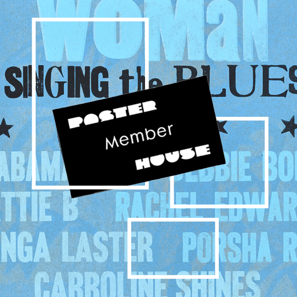 Text based graphic featuring light blue woodblock lettering on a slightly darker hued background. Over the image are three white rectangle outlines. The central image is a black Poster House membership card.