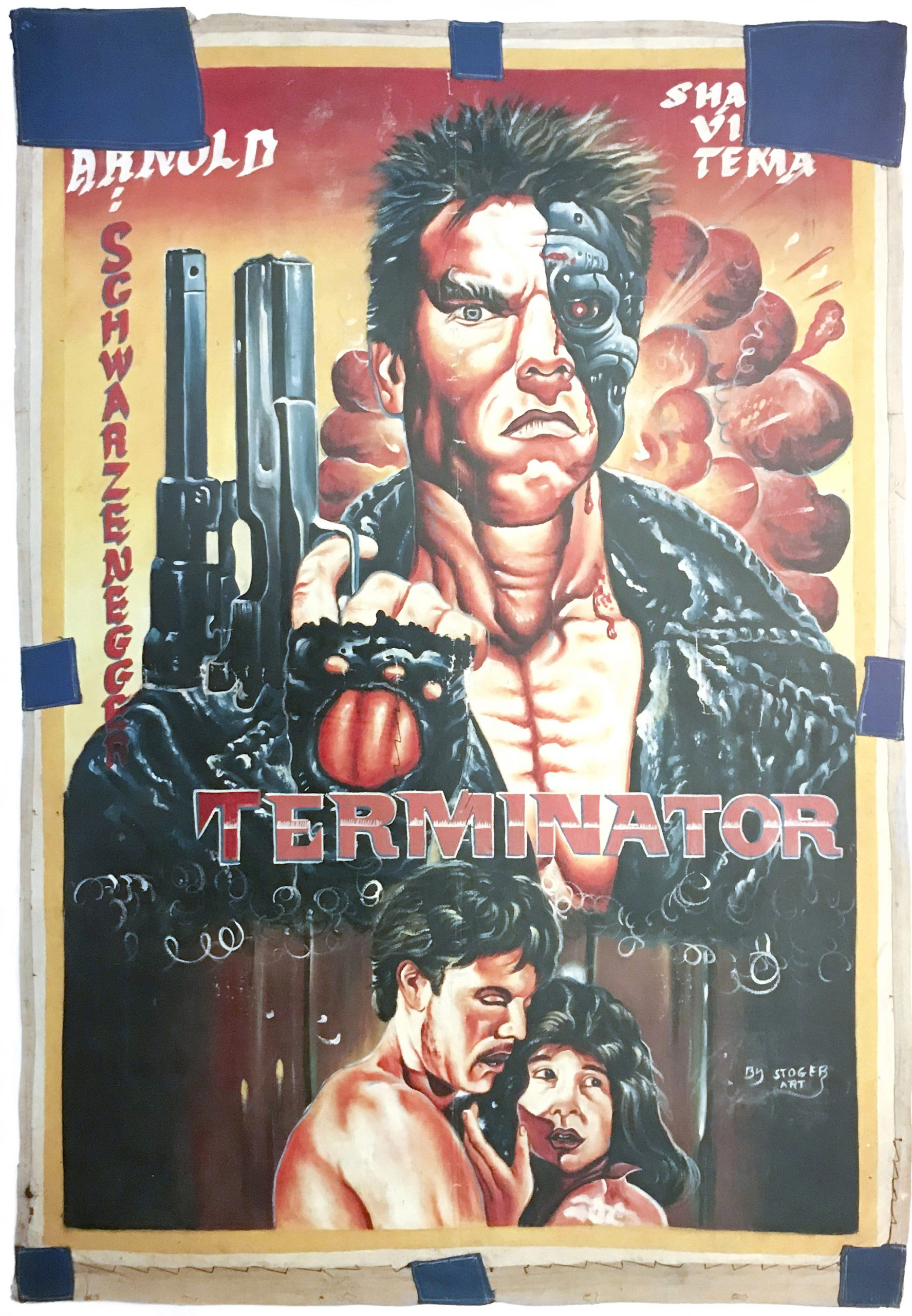 hand-painted poster of a muscular man with a half robotic face holding a gun in his right hand