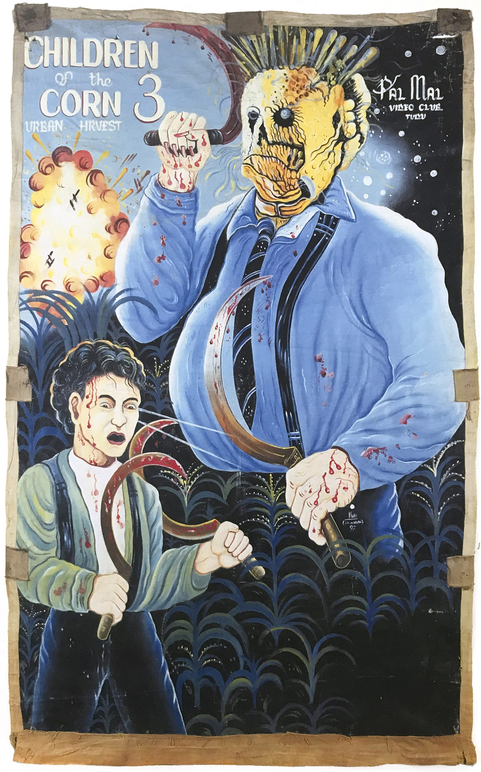 hand-painted poster of a man wearing a mask made of corn and a young boy holding bloody circular knives