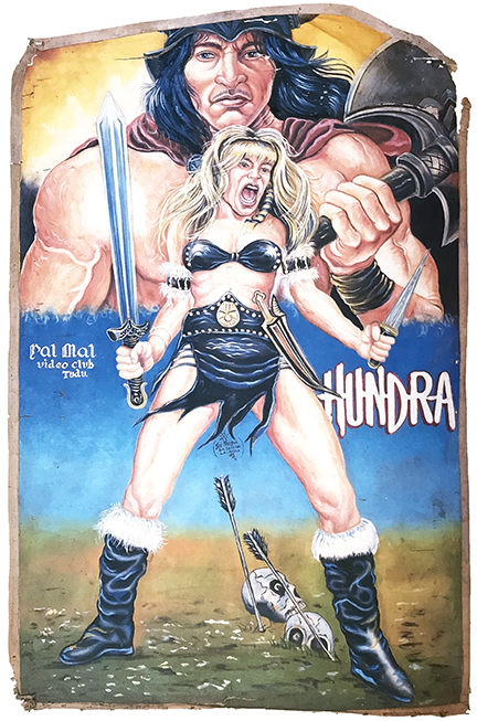 hand-painted poster of a warrior woman dressed in black holding a sword in each hand with skulls on the ground behind her