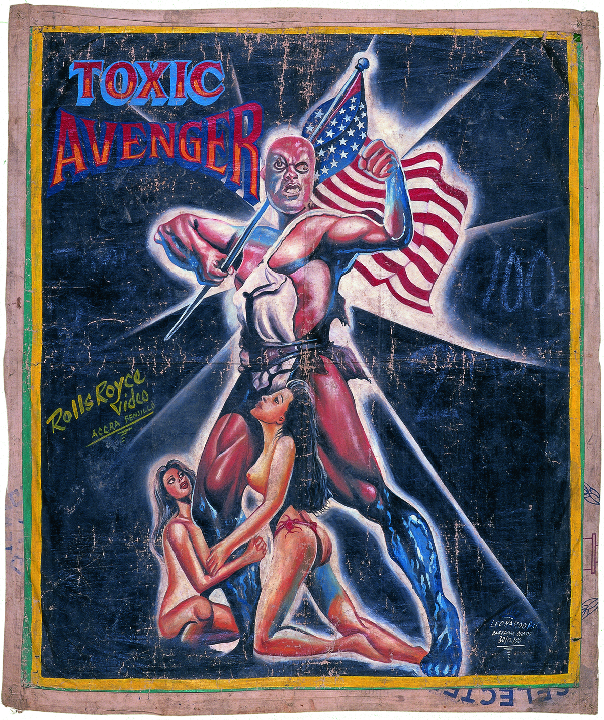 hand-painted poster of a superhero in a tight red costume holding the American flag while two women kneel around him