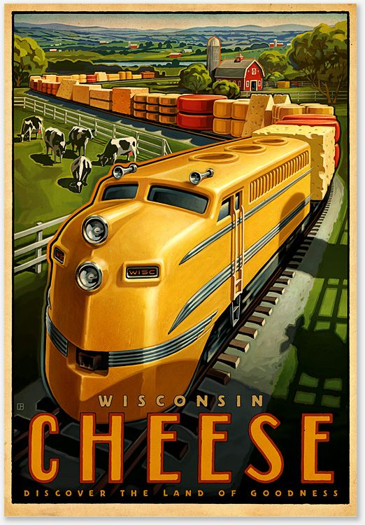 illustrational poster of a train made of cheese moving through a countryside