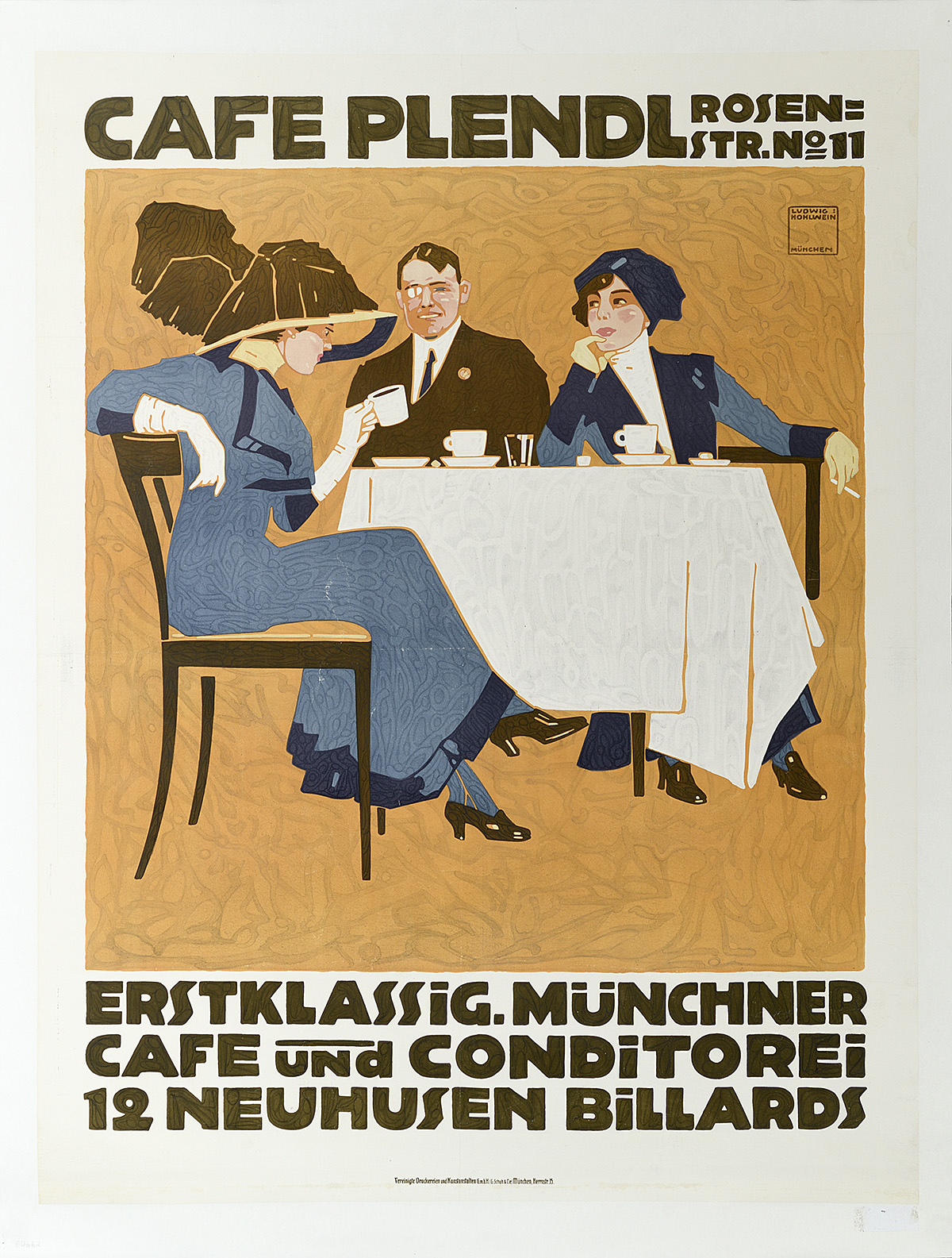 illustrational poster of a man and two women dressed elegantly sitting at a table having coffee