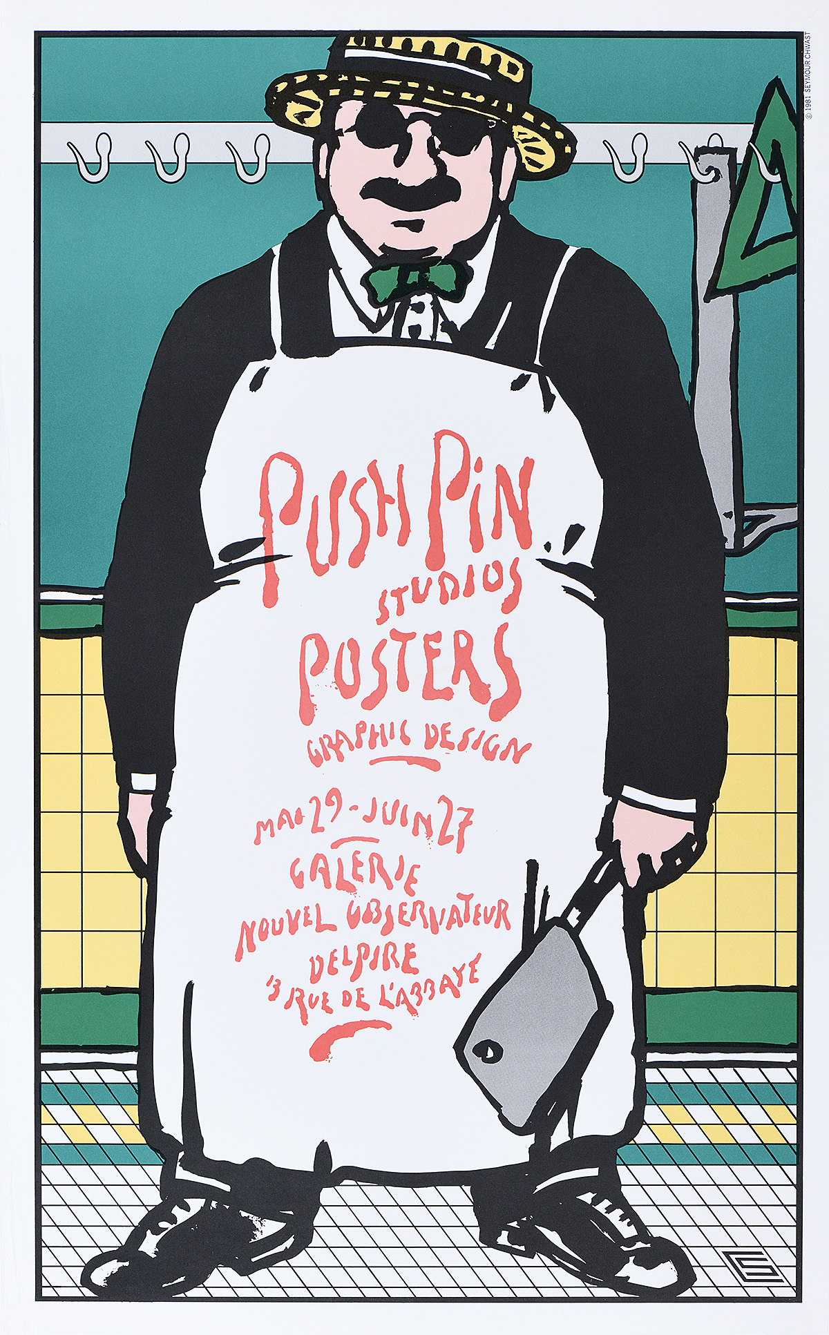 illustrational poster of a suited man wearing an apron and holding a chopping knife within an interior setting