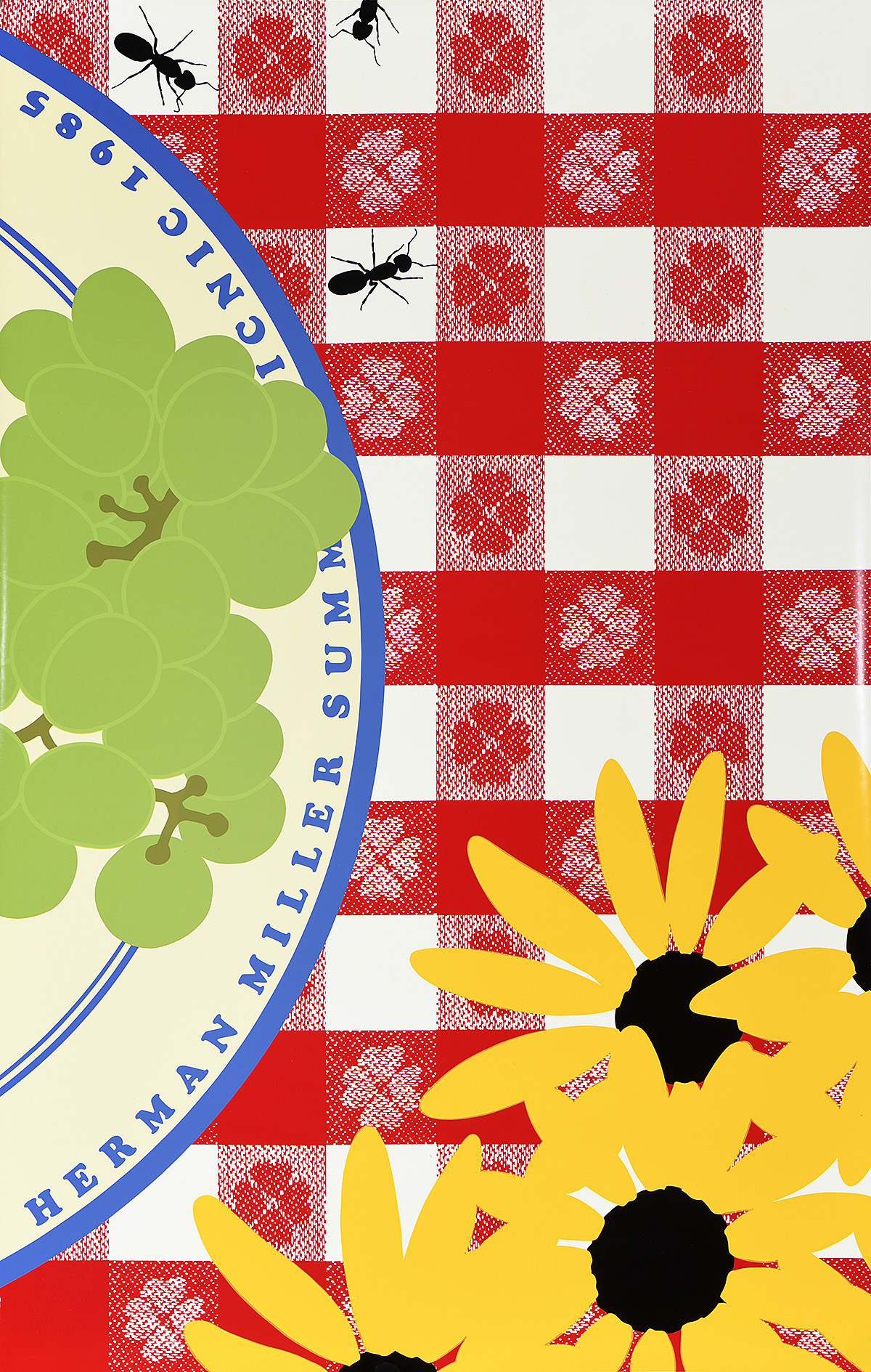 illustrational poster of a plate of grapes, bunch of sunflowers, and crawling ants on top a table with a plaid tablecloth
