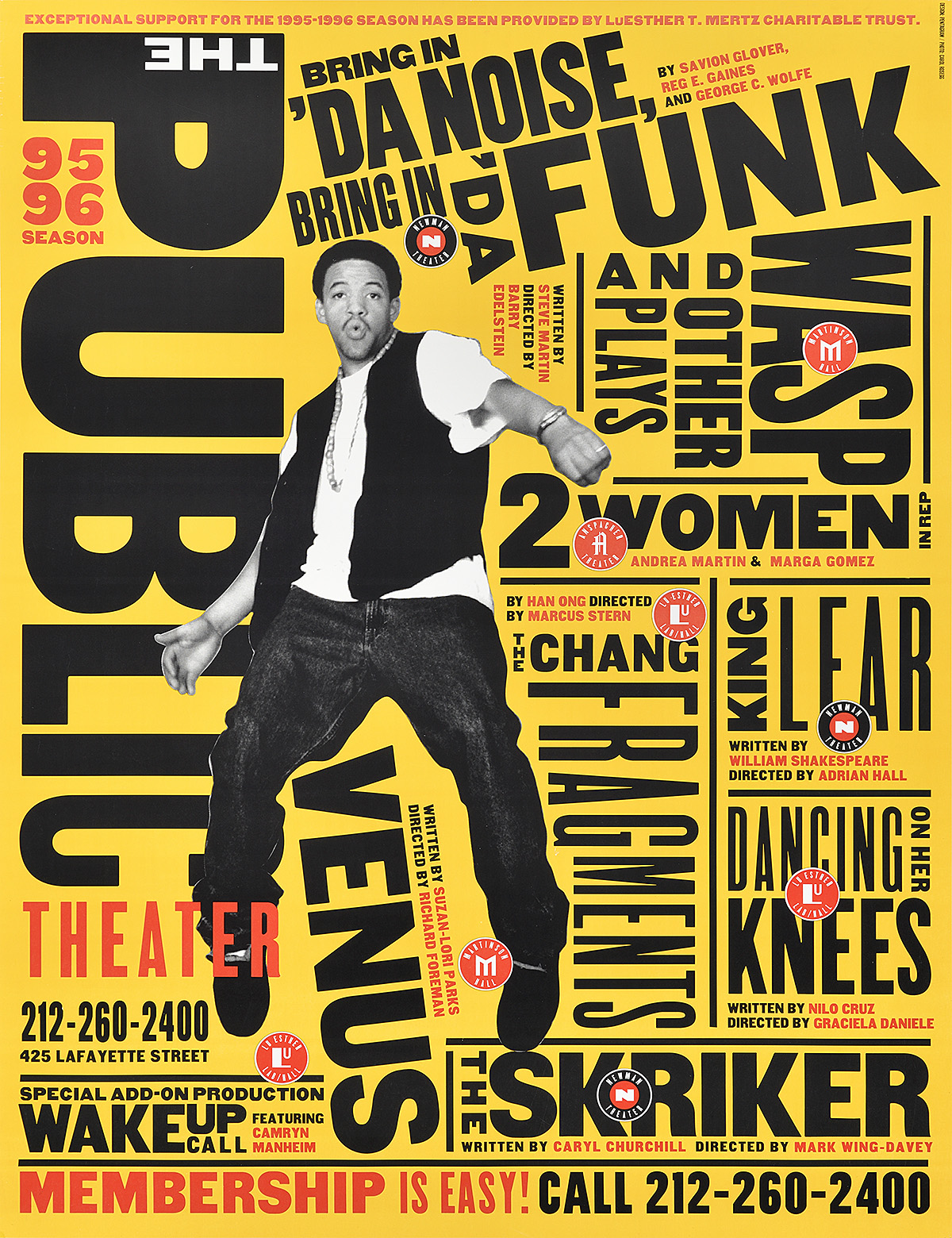 collage poster of a man balancing on his toes and black and red text packed tightly in various positions on a yellow background