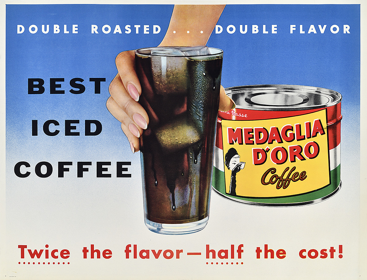 photomontage poster of a feminine hand holding a cup of iced coffee beside a can of coffee grounds