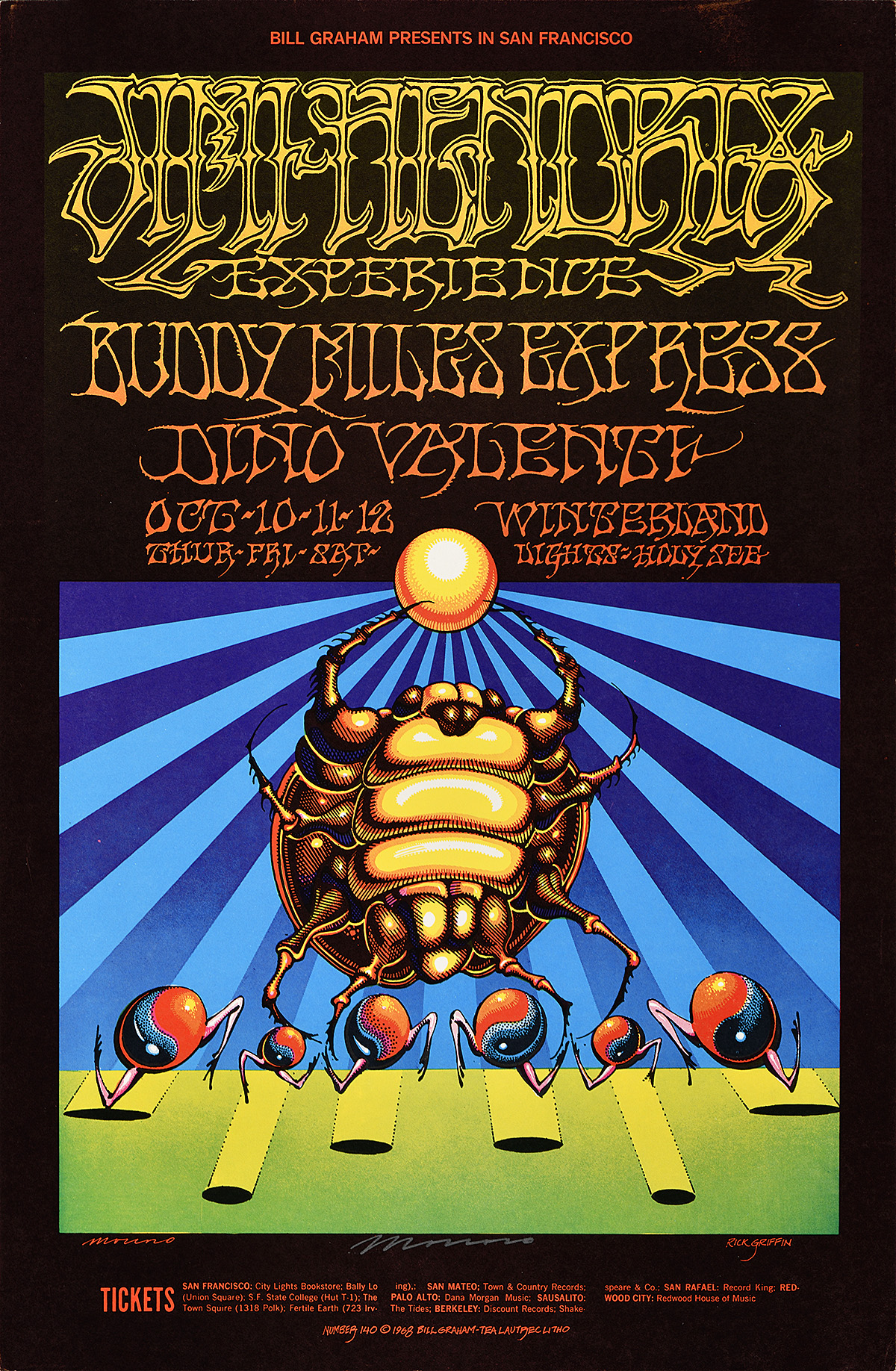 illustrational poster of an insect holding a ball up to the sky with two legs