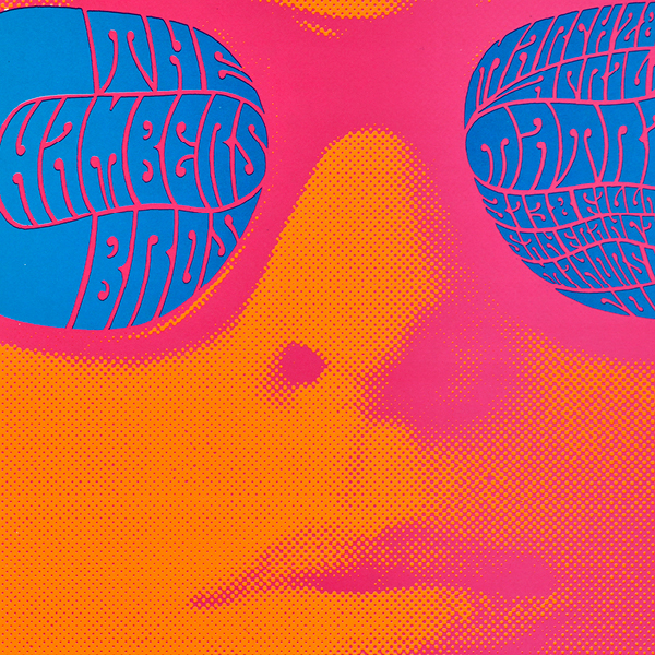 a close up of a psychedelic poster of a woman's face in orange and pink and blue sunglasses with type on the sunglasses