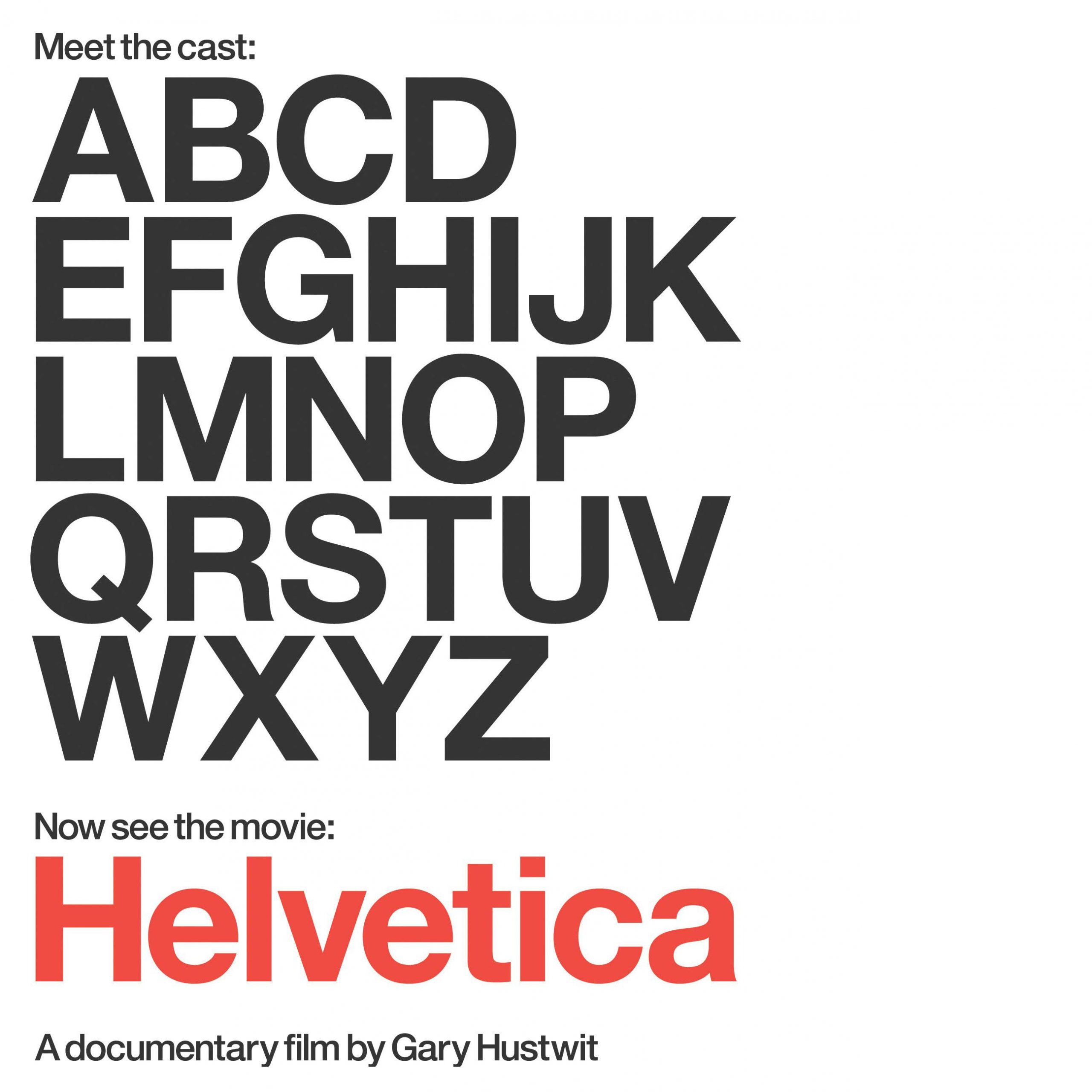 type-based promotional graphic for the Helvetica documentary film
