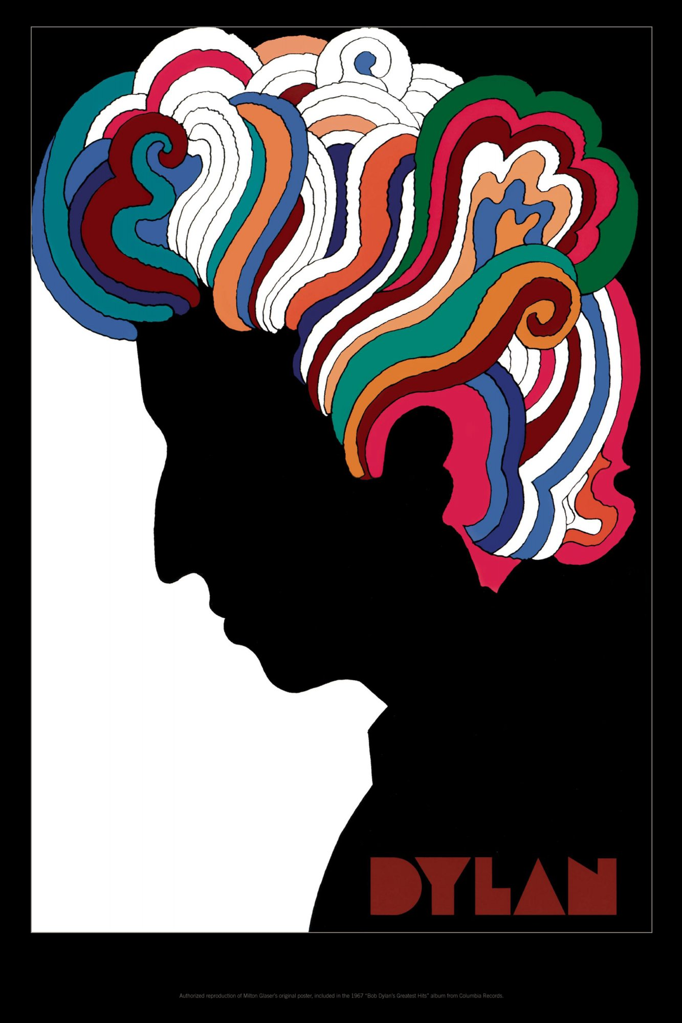 illustrational image of a man in profile with wild rainbow hair