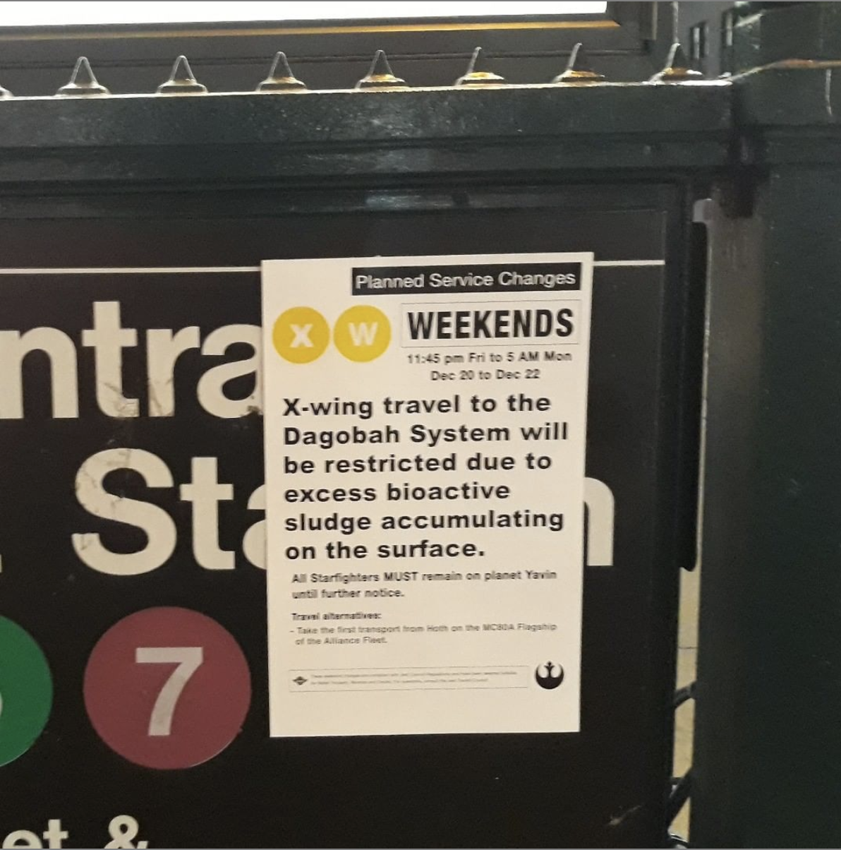 poster outside of an MTA subway station relating service changes to the Star Wars films