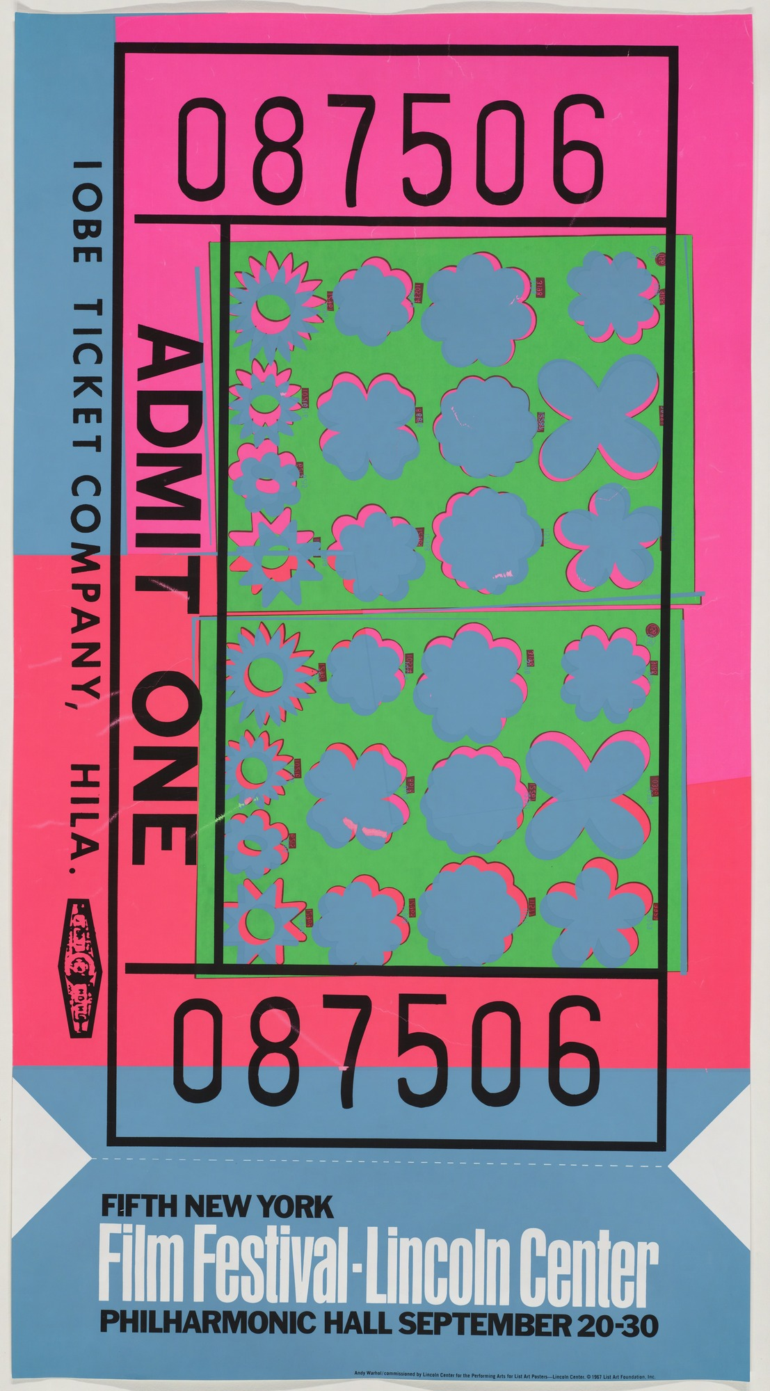 illustrational poster of a pink and blue admissions ticket for a film festival at Lincoln Center