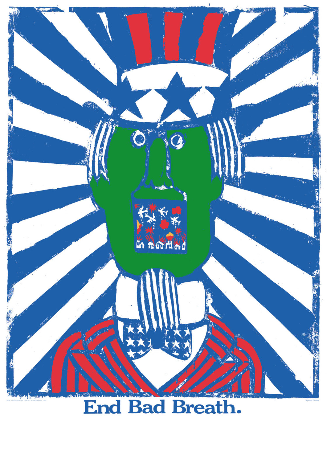 illustrational poster of a man with a green face wearing a suit with the American flag's colors