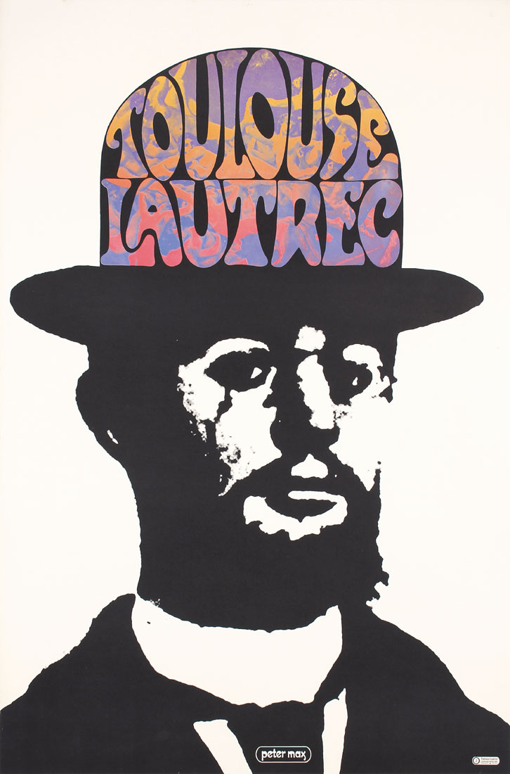 black and white illustrational poster of a man wearing a top hat that is filled with colorful 70's inspired text