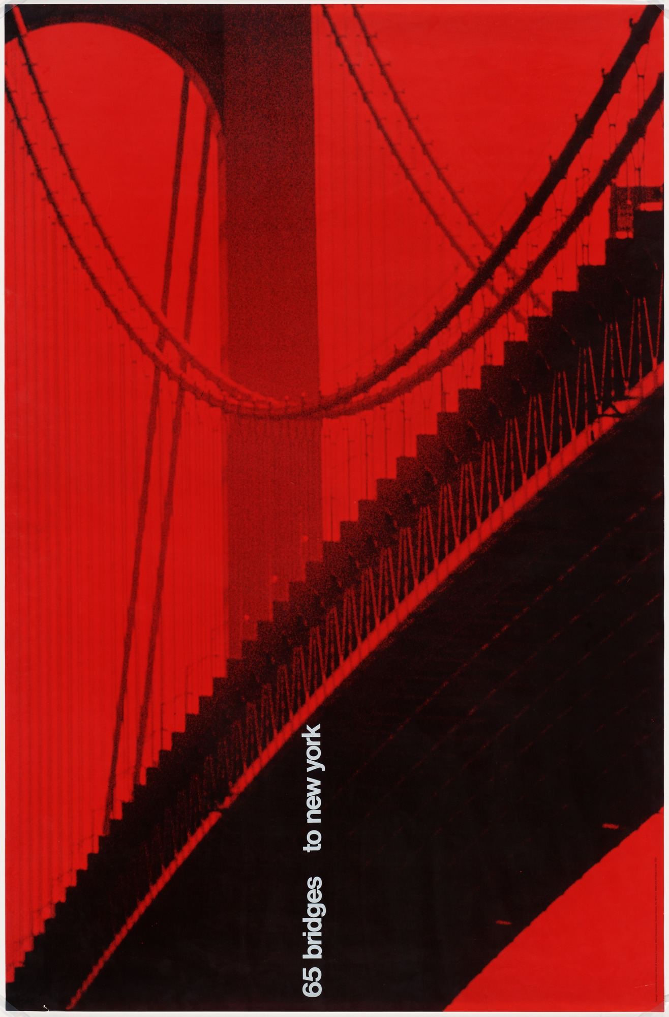 photograph of a bridge from below in a red hue