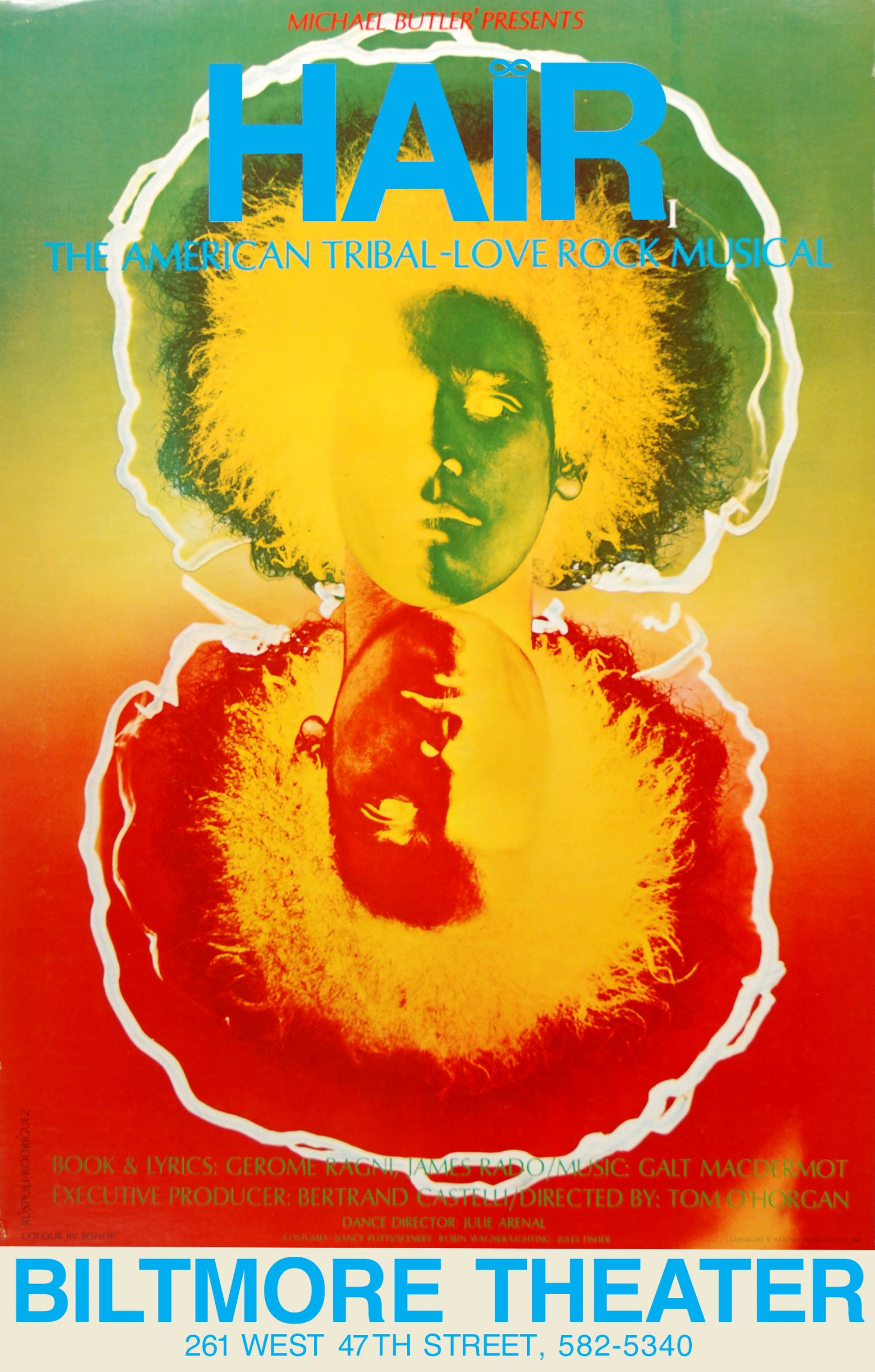 poster with a horizontally reflected image of a man with big hair in a green yellow and red gradient color
