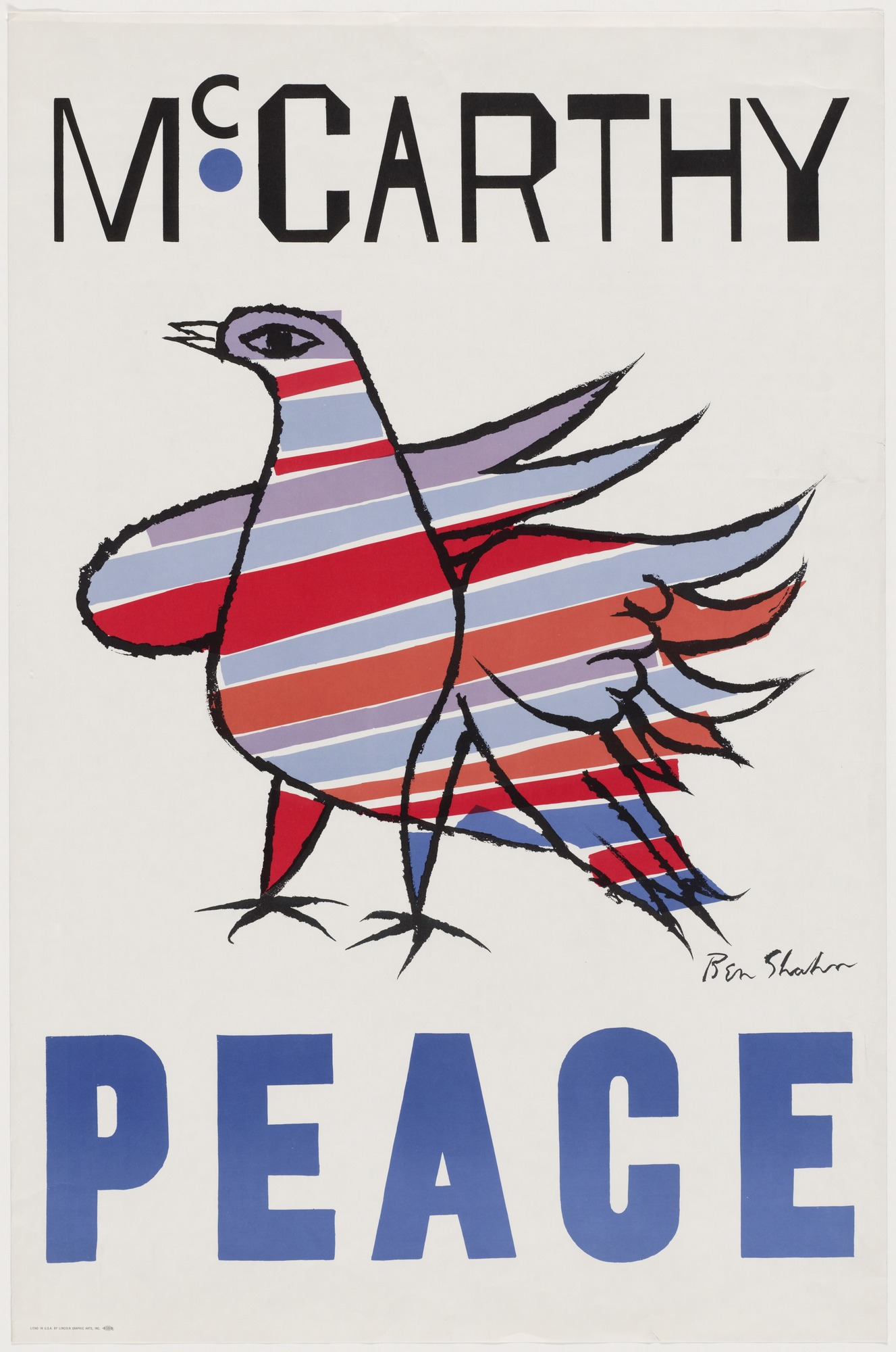 illustrational poster of a bird colored with blue red and white stripes