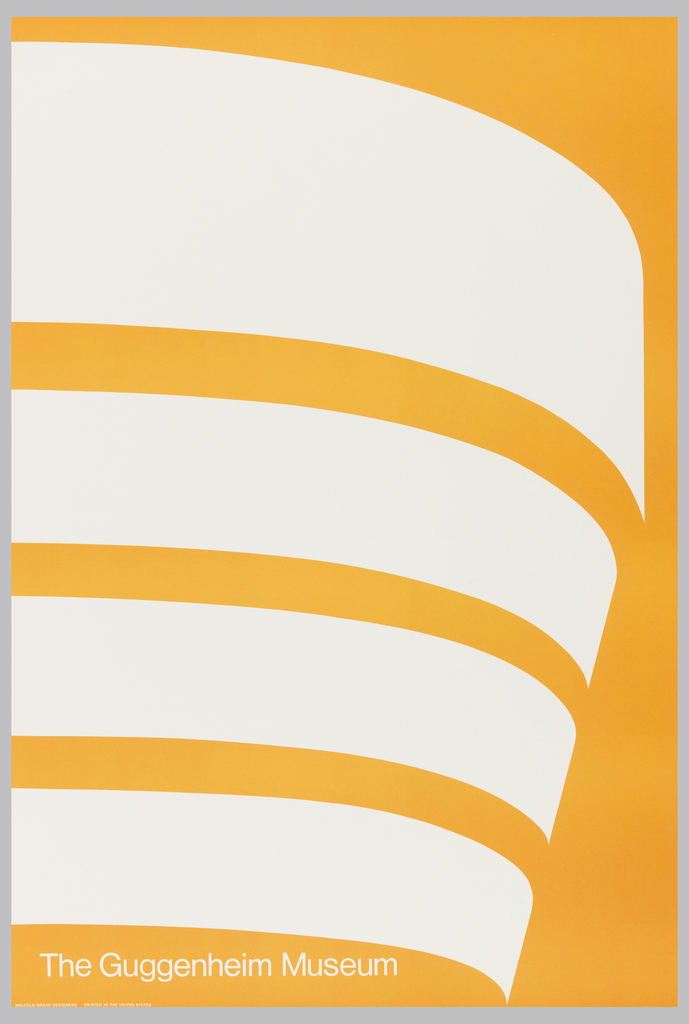 graphic poster depicting the unique shape of the Guggenheim Museum building