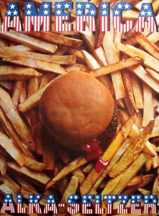 poster with a photograph from above of a burger sitting on top a pile of fries