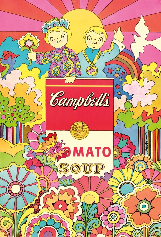 illustrational poster of two figures standing inside of a Campbell's tomato soup can in colorful almost psychedelic landscape