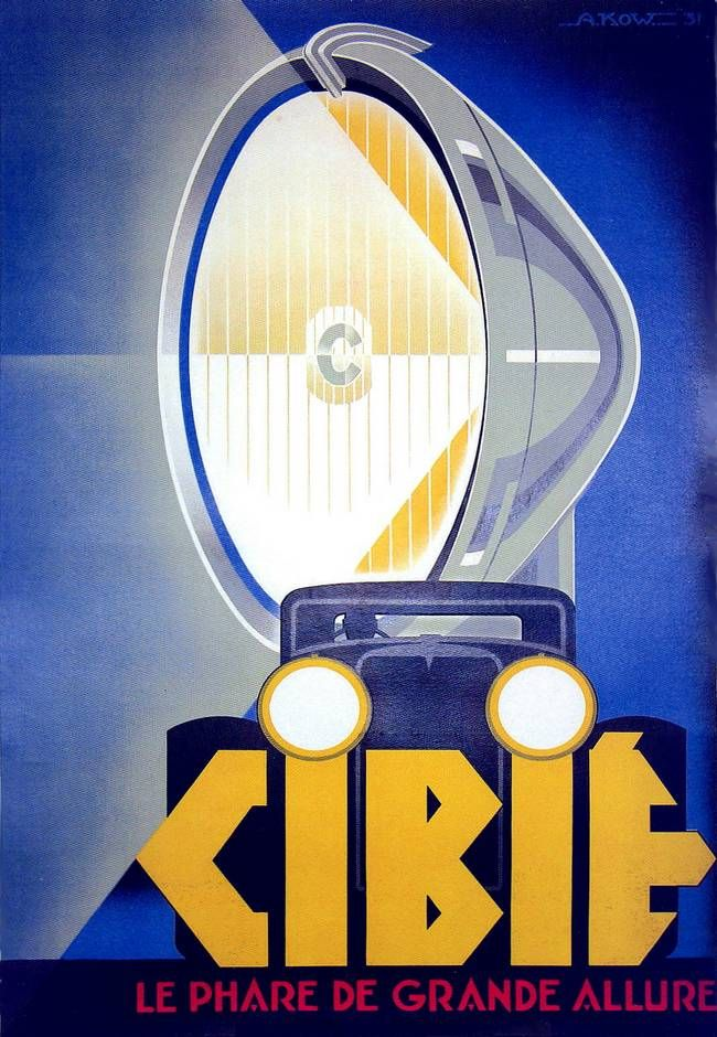 illustrational poster showing the front of a classic car and a big standing light above the car
