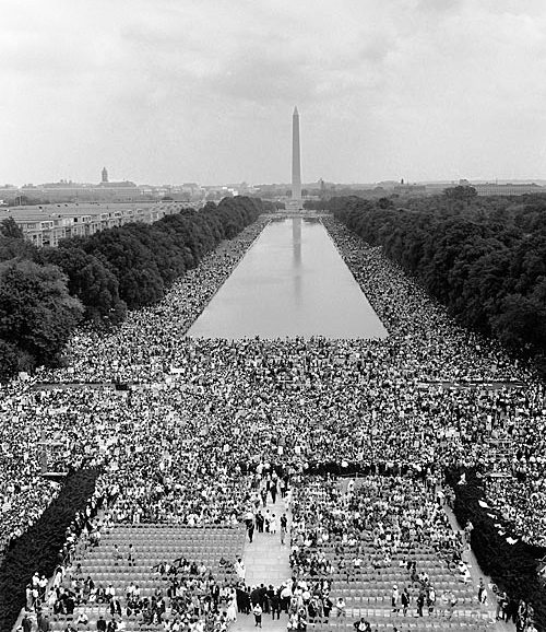 black and white photograph of the March on Washington for Jobs and Freedom