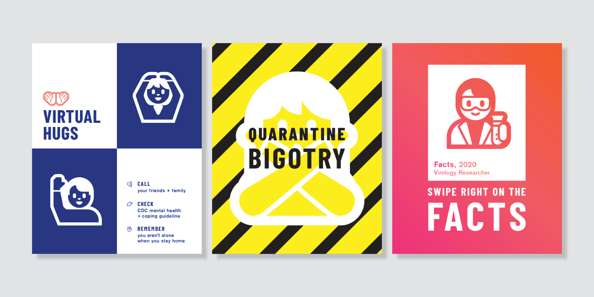 three graphic PSA posters on combating Covid side by side