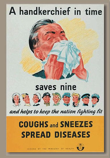 illustrational poster of a man sneezing into a handkerchief