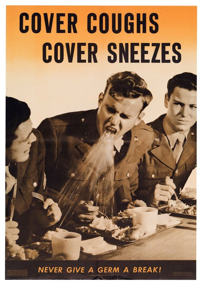 photomontage poster of a soldier coughing on the food of his comrades