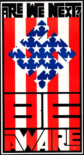 type-based poster of a swatsika symbol with the pattern of the stars from the American flag against a background of red and white stripes