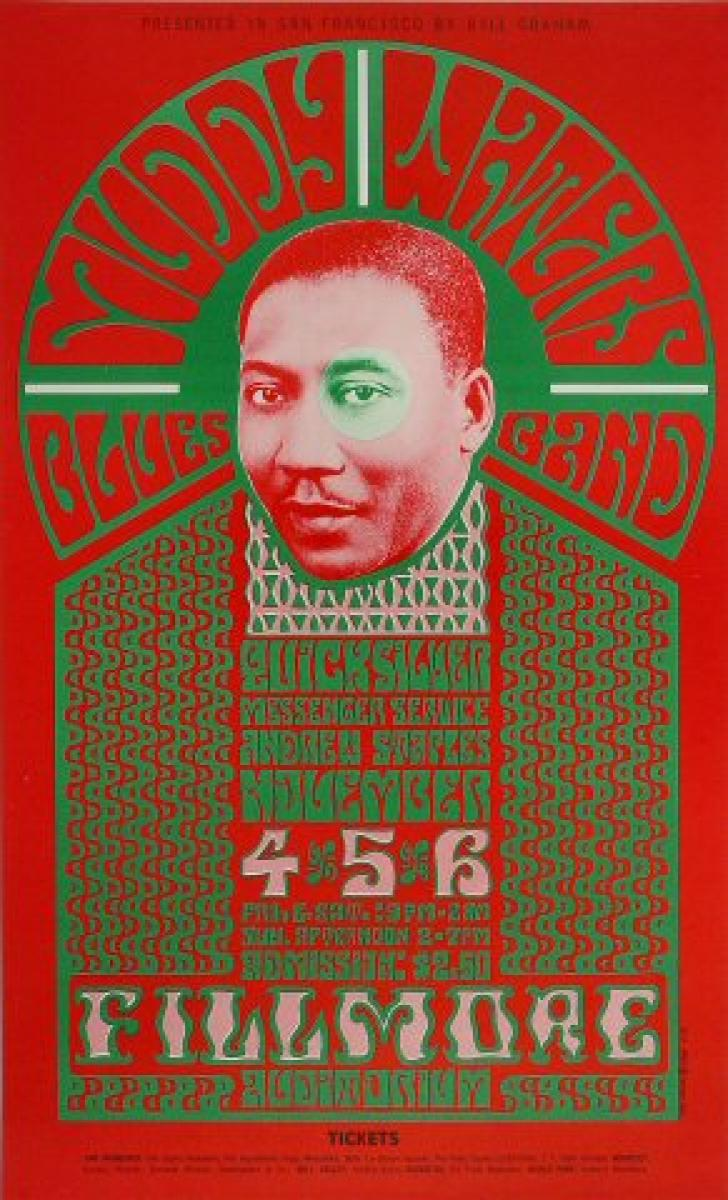 poster of a picture of an African American man's head surrounded by the outline of a halo and robe filled with type