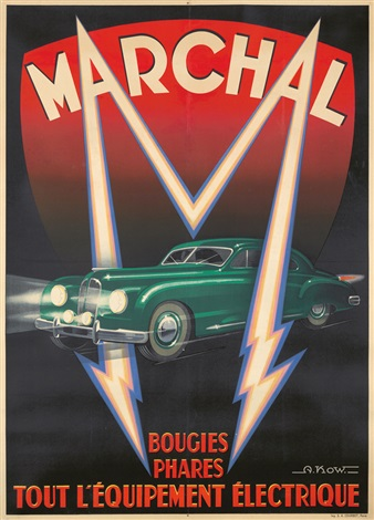 illustrational poster of a classic car surrounded by an M shaped lightening bolt