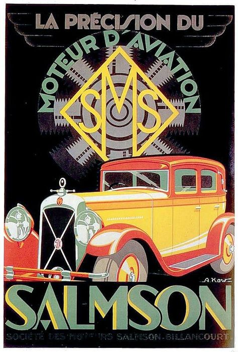 illustrational poster of a orange and red classic car against a black background