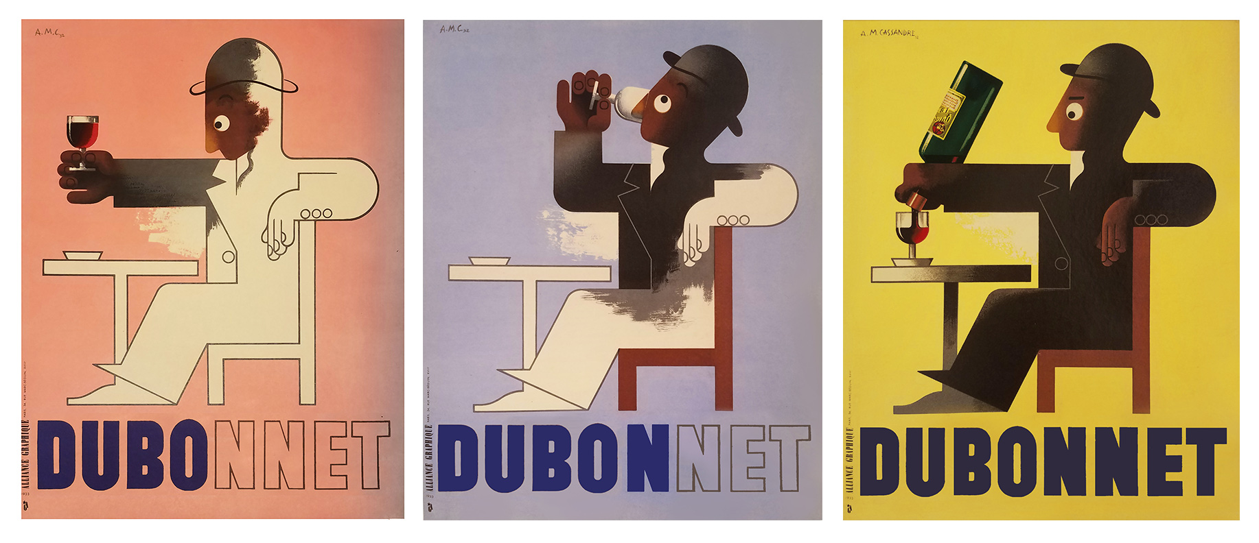 three illustrational posters showing a figurine man drinking a glass of Dubonnet and pouring himself another