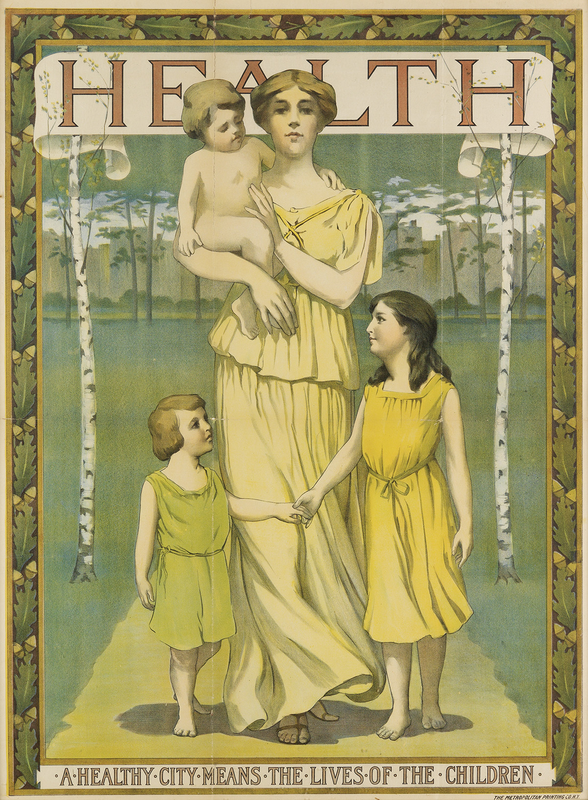illustrational poster of a mother walking with her two young children while holding a baby