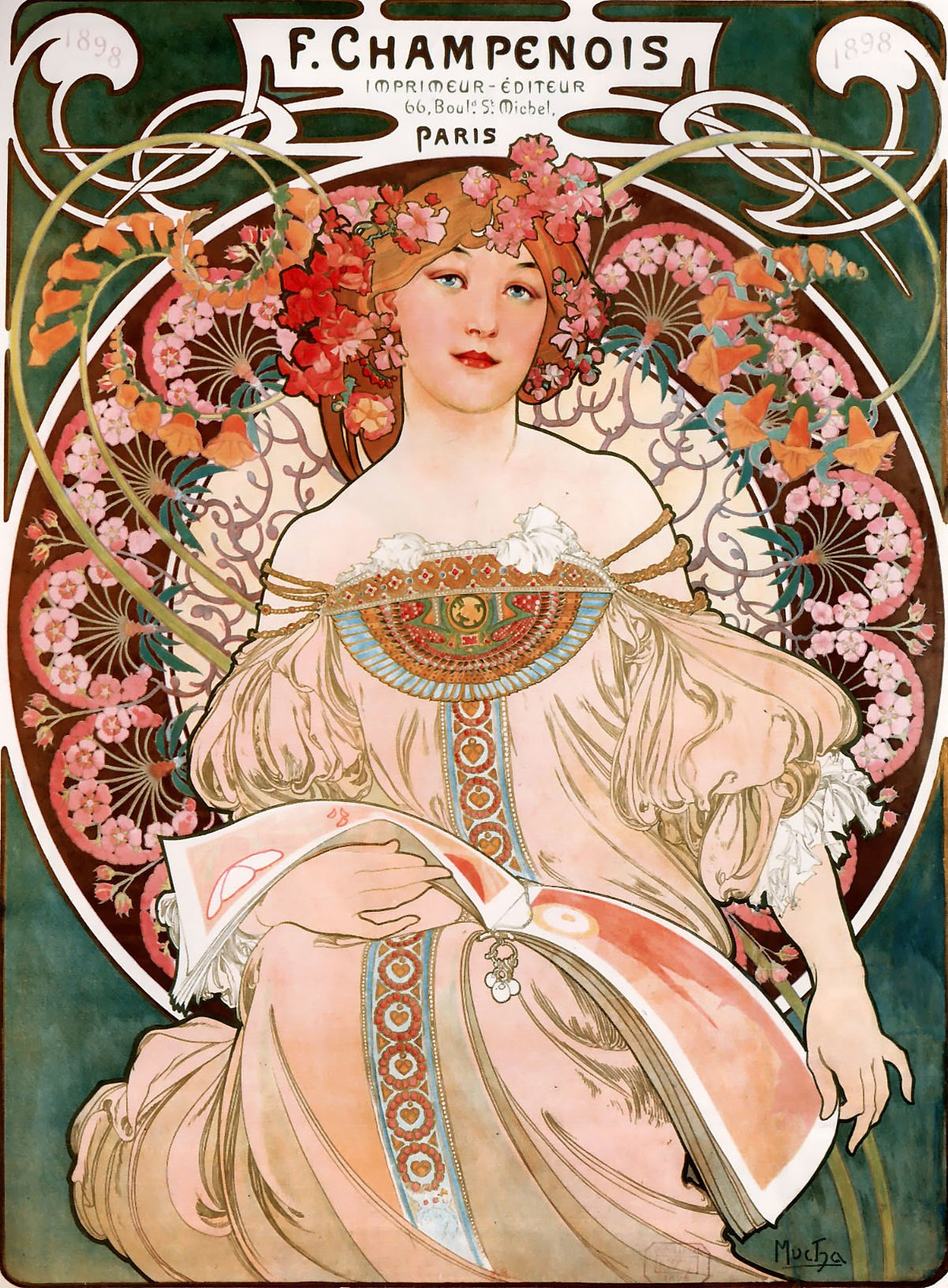 illustrational poster of a woman surrounded by a ring of flowers with an open book on her lap