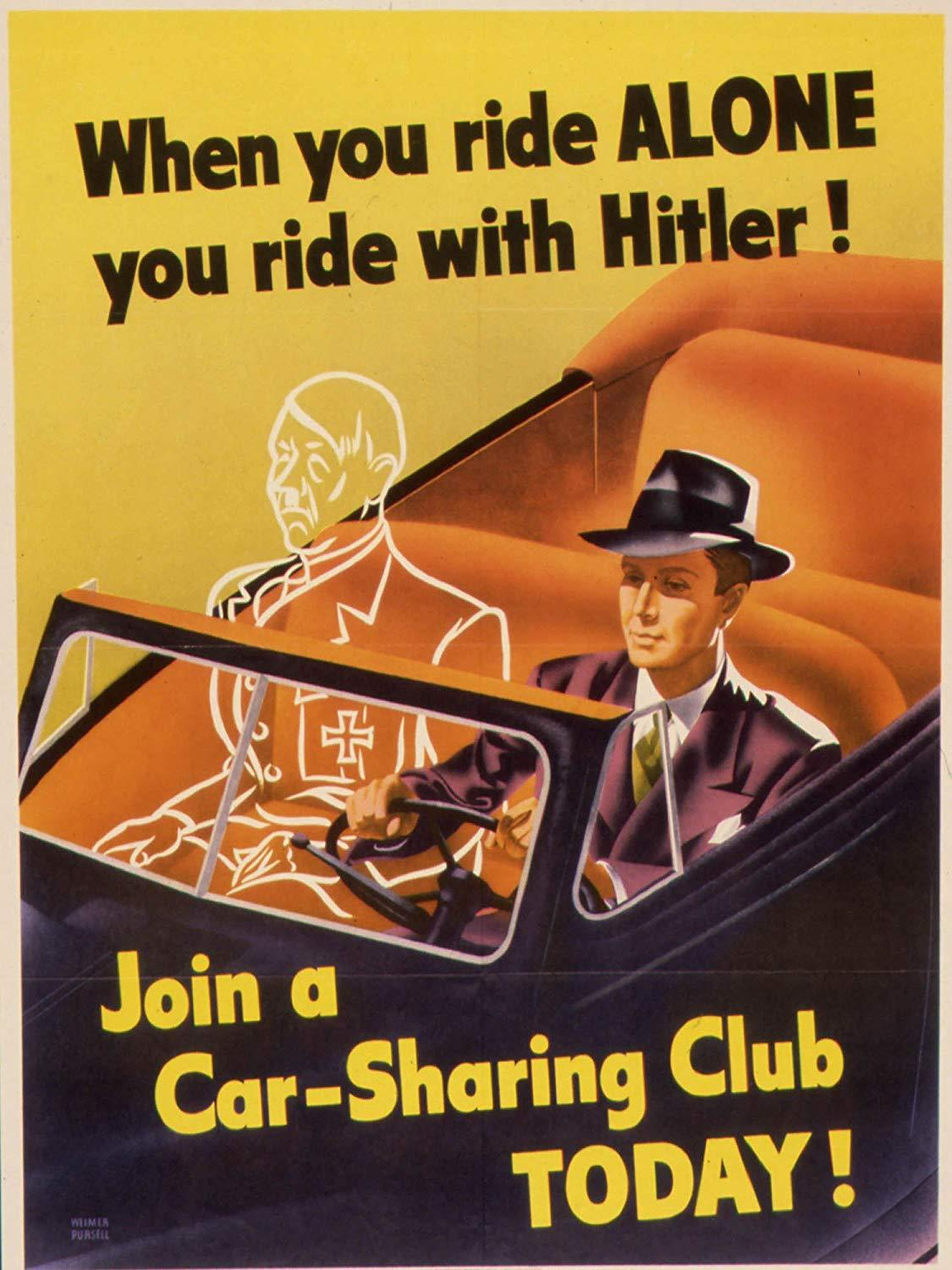 illustrative poster of a man driving a car and the outline of an invisible figure sitting in the passenger seat